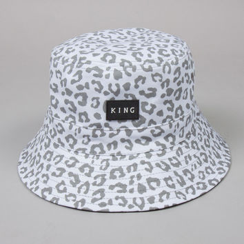 King Apparel - Urbane Reversible Bucket Hat - White Leopard / Black