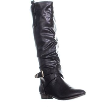 MG35 Cooper Side Zip Pull On Mid Calf Boots, Black, 5 US