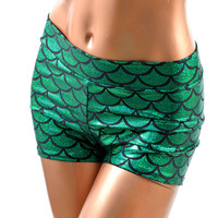 Emerald Green Midrise Mermaid Shorts