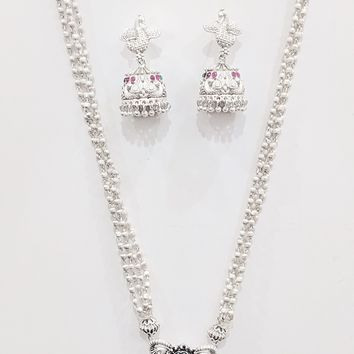 Multi stranded Peacock pendant Long Necklace and Earring set