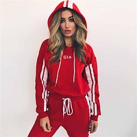 Fashion Sport Running Stripe Hoodie Top Sweater Pants Trousers Set Two-Piece