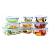 Kinetic GoGreen Glasslock Elements 18-Piece Oven Safe Glass Food Storage Container Set with Vented Lid
