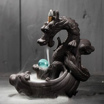 Dragon Incense Burner Ceramic Backflow Incense Burner Creative Home Decor Dragon Incense Holder Censer W $