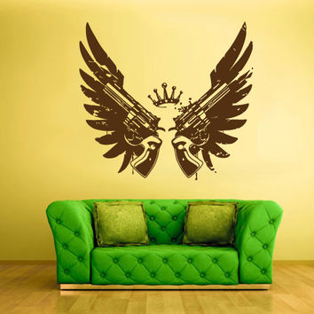 Wall Decal Vinyl Sticker Decals Wings Guns Crown Revolvers Gungster Grunge z1662