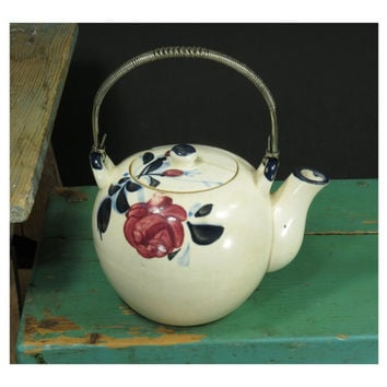 Wonderfully Crazed 2-Cup Teapot Circa 1940s • Made in Occupied Japan • Stainless Steel Handle • Bright Floral Design • White Wine Blue