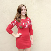 Fair Isle Snowmen Tacky Ugly Christmas Sweater Dress