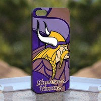 NFL MINNESOTA VIKINGS logo, Print on Hard Cover iPhone 4/4S Black Case