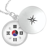 Taegeuk, Taiji, the Great Ultimate, the yin-yang T Round Locket Necklace