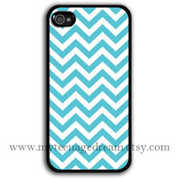 iPhone 4 Case, iphone 4s case, sky blue chevron iPhone black Hard Case for iphone 4 4s