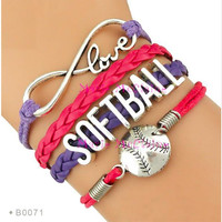Softball Bracelet - Purple/Pink