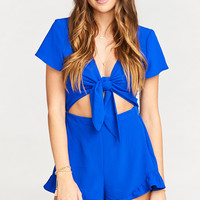 Riviera Romper ~ Royal Blue Pebble