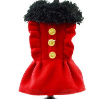 Red Fleece Dog Harness Coat with Faux Fur Collar