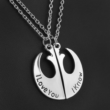 """I love you"" ""I know"" Necklace Set"