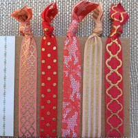 Elastic Hair Ties - Set of Five - Red, Pink, Peach, Gold, Polka Dots, Lace, Quatrefoil, Stripes - Valentine's Day - Fold Over Elastic