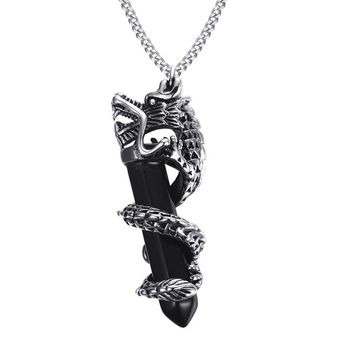 Men's Punk Dragon Wrapped Hexagonal Healing Point Chakra Cut Created Black Natural Stone Pendant Necklaces for Male Jewelry