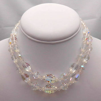 Faceted Crystal Vintage Necklace - Choker Length - Gift Idea - Brides Necklace -  Mothers Day - Mother - Mom