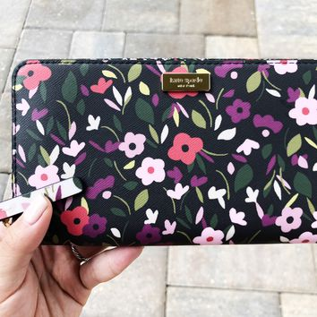 Kate Spade Laurel Way Boho Floral Neda Lacey Zip Around Wallet Black Multi
