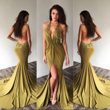 BY11 Sexy Backless Long Mermaid Prom Dresses 2016 New Style Halter Appliques Lace Chiffon Evening Dress Side slit Party Gown