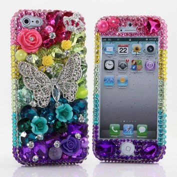 iPhone 5 5S 5C 4/4S -Samsung S3 S4 Note 2 3 Handcrafted Case Cover 3D Luxury Bling Crystal Diamond Rainbow Butterfly Rose Flower Fantasy_453
