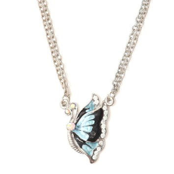 Small Butterfly Necklace Teal Blue Vintage NI14 Animal Charm Retro Silver Pendant Fashion Jewelry