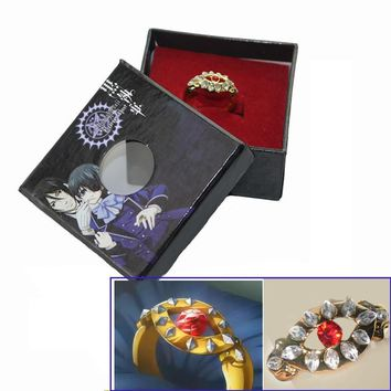 1pcs Black Butler Kuroshitsuji Alois Trancy's Cosplay Gold Ring New in Box Cosplay Jewelry Fashion Anime Prop