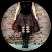 Brown Steampunk Skirt ~ Pirate Stripes ~ Victorian Bustle ~ Halloween Costume for all year wear ~ fits S to XL