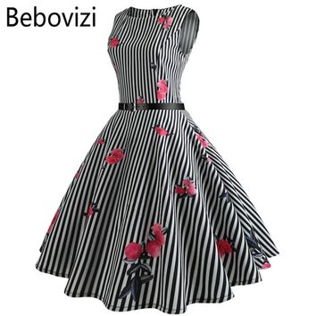 Bebovizi Black and White Stripes Rose Print Big Swing Party Midi Dresses Robe Femme Summer Women Audrey Hepburn Rockabilly Dress