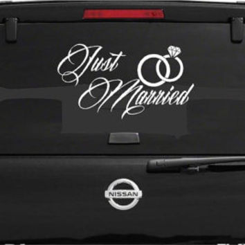 Just Married car window decal Wedding decal Just Married car decoration Just Married vinyl decal Wedding Day Marriage Wedding rings