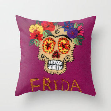 Frida Throw Pillow by Or Roizin | Society6