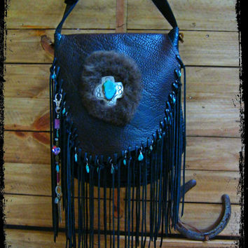 Limited Edition Eternal Perspective Bison Leather Fringe Handbag