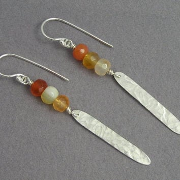 Dangle Earrings - Sterling Silver Leaf and Carnelian - Silver Feather - Long Earrings - Orange Earrings