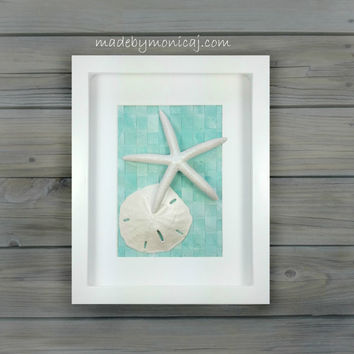 Wall Decor For Your Beach Inspired Home. Seashell Art in a Shadow Box.  Beach Decor.