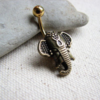 Gold Tribal Elephant Navel Ring - Titanium Non Dangle Belly Button Jewelry, Bellybutton Ring