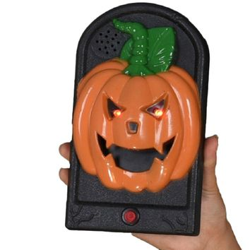 1PC Unique Creative Creepy Door Decorations Light Up Pumpkin Prop Bar Party Doorbell For Home Bar Haunted House Decoration