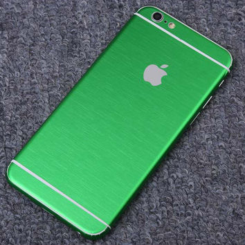 Green Brushed Aluminum Surface Decal Wrap Skin Set iPhone 6s 6 / iPhone 6s 6 Plus