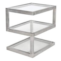 5S End Table Stainless Steel , Glass