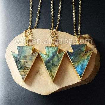 WT-N578 24k gold trim sparkly arrowhead labradorite necklace natural shine arrowhead labradorite pendant necklace for women