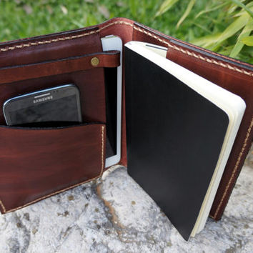 Ipad Mini cover and Large Moleskine case leather chocolate brown, Leather kindle fire hdx 7 cover ,Personalized