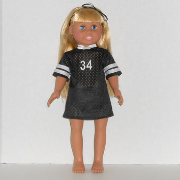 American Girl Doll Football Jersey Nightgown Black and White with Panties
