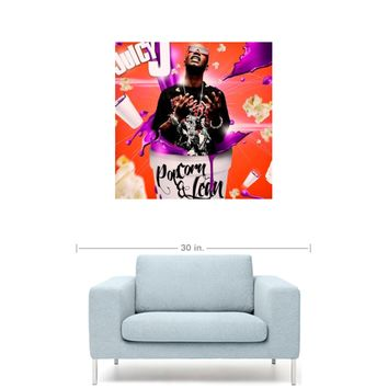 "Juicy J - Popcorn & Lean Mixtape Cover 20"" x 20"" Premium Canvas Gallery Wrap Home Wall Art Print"