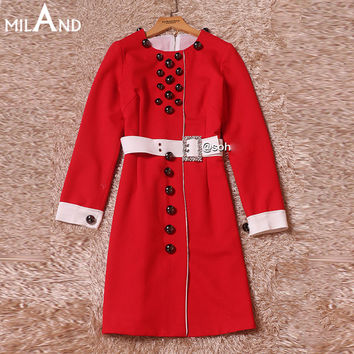 o neck long sleeves pearls belted red dress 2016 high quality women's work dresses 908
