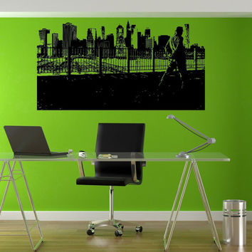 Old NY Skyline Man in High Hat State of New York Wall decor Mural Decal vm009