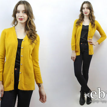 Mustard Cardigan 1970s Cardigan 70s Cardigan Mustard Sweater 70s Cardigan 70s Sweater Yellow Sweater Yellow Cardigan Hipster Cardigan XS S
