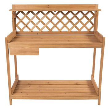 Solid Wood Garden Work Table Potting Bench