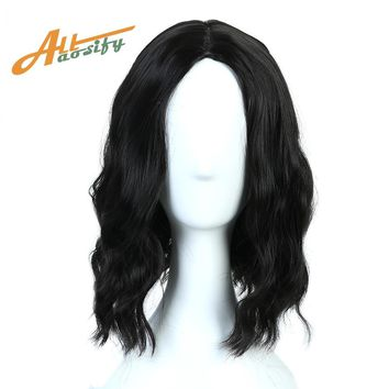 "Allaosify 14"" Short Curly Synthetic Hair Women Lady Daily Costume Cosplay Wig Natural Black High Temperature Fiber"