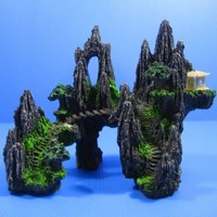 Resin Mountain View Fish Tank Cave Bridge Decorations Aquarium Rockery Ornament