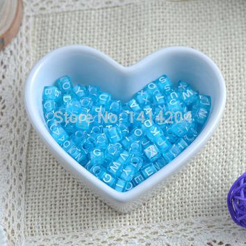 6x6mm 400PCs Mixed Sky Blue  Acrylic Alphabet/Letter square Beads Pony Beads For Jewelry Making YKL0117