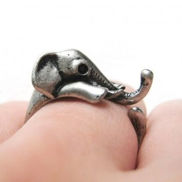 Miniature Elephant Ring in Silver Sizes 4 to 10 Available by Dotoly
