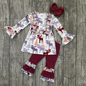 new arrival fall/winter baby girls moose wine burgundy outfits ruffles pants children clothes boutique match accessories set