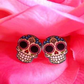 Sugar Skull and Daisies Post Earrings